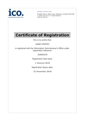 Registration Certificate Data Protection